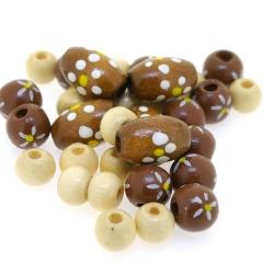 Houten kraal, Mix, bruin (65 gram)