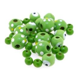 Houten kraal, Mix, groen (65 gram)