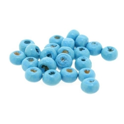Houten kraal, rond, lichtblauw, 3 mm (65 gram)