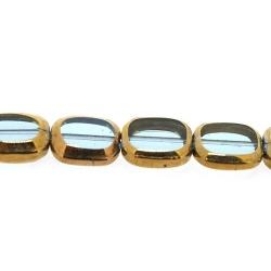 Framed kaal, goud, rechthoek, lichtblauw, 14 x 12 mm (1 streng)