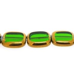 Framed kaal, goud, rechthoek, groen, 14 x 12 mm (1 streng)