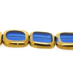 Framed kaal, goud, rechthoek, blauw, 14 x 12 mm (1 streng)