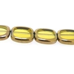 Framed kaal, goud, rechthoek, geel, 14 x 12 mm (1 streng)