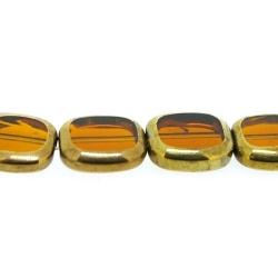 Framed kaal, goud, rechthoek, bruin, 14 x 12 mm (1 streng)