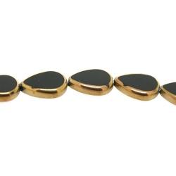 Framed kaal, goud, druppel, zwart, 16 x 12 mm (1 streng)