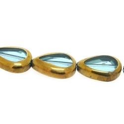 Framed kaal, goud, druppel, lichtblauw, 16 x 12 mm (1 streng)