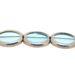 Framed kaal, zilver, ovaal, lichtblauw, 16 x 14 mm (1 streng)
