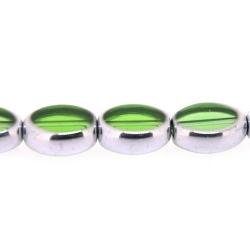 Framed kaal, zilver, ovaal, groen, 13 x 10 mm (1 streng)