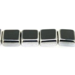 Framed kraal, zilver, vierkant, zwart, 10 mm (1 streng)