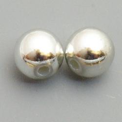Metallook kraal, rond, zilver, 8 mm (10 st.)