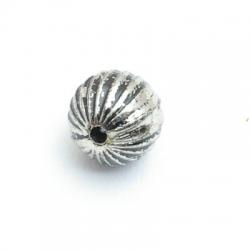 Metallook kraal, rond, zilver, 10 mm (10 st.)