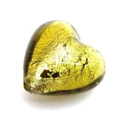 Glaskraal, hart met zilverfolie, olijfgroen, 19 mm (5 st.)