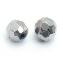 Glaskraal, rond met facetten, zilver, 8 mm (10 st.)
