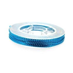 Rijg-/knoopdraad met glitters, turquoise, 1 mm (10 meter)