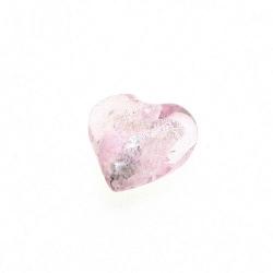 Glaskraal, hartvorm met zilverfolie, roze, 12 mm (10 st.)