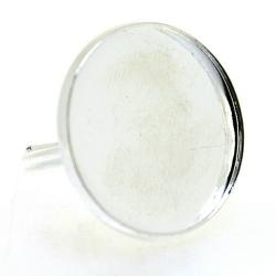 Metaal, verstelbare ring voor cabochon/plaksteen van max. 23 mm, zilver (1 st.)