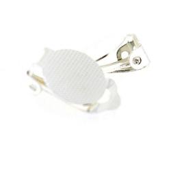 Oorbel (clip) voor ronde plaksteen vanaf 12 mm, zilver (1 set)