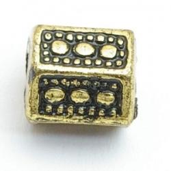 Metallook kraal, blokje, goud, 12 mm (10 st.)
