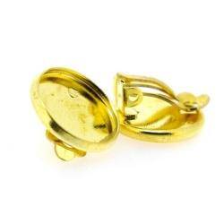 Oorbel (clip) voor ronde plaksteen van ca. 14 mm, goud (1 set)