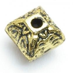 Metallook kraal, hoekig, goud, 12 mm (10 st.)