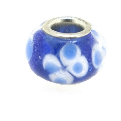 Glaskraal met groot rijggat, metalen kern, blauw (1 st.)