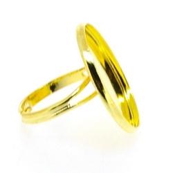 Metaal, verstelbare ring voor cabochon/plaksteen van max. 23 mm, goud (1 st.)