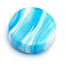 Glaskraal, rond (plat), blauw, gemarmerd, 19 mm (5 st.)