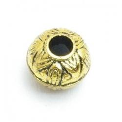 Metallook kraal, rond (afgeplat), goud, 8 mm (20 st.)