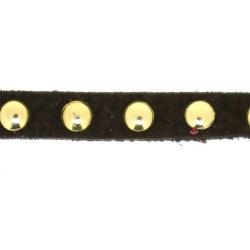Veter met goudkleurige studs, 6 mm, donkerbruin (1 meter)
