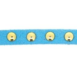 Veter met goudkleurige studs, 6 mm, lichtblauw (1 meter)