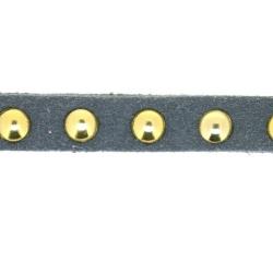 Veter met goudkleurige studs, 6 mm, grijs (1 meter)