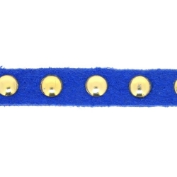Veter met goudkleurige studs, 6 mm, blauw (1 meter)