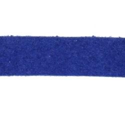 Veter, suede, plat, 10 mm, kobaltblauw (1 meter)