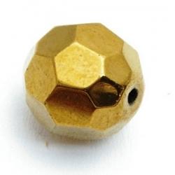 Glaskraal, rond met facetten, goud, 16 mm (5 st.)