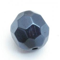 Glaskraal, rond met facetten, zwart metallic, 16 mm (5 st.)