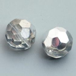 Glaskraal, rond met facetten, zilver/crystal, 14 mm (5 st.)