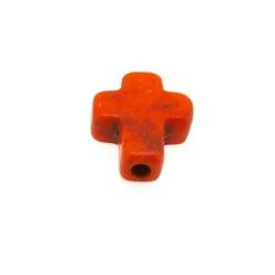 Gekleurd Turquoise kraal, oranje, kruis, 10 mm (ca. 40 st.)