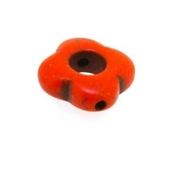 Gekleurd Turquoise, kraal, oranje, boem, open, 14 mm (streng)