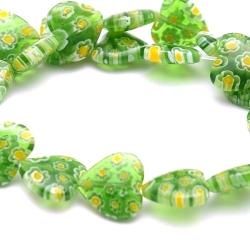 Glaskraal, hartje, groen, millifiori (10 st.)