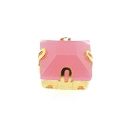 Rijgkastje met kunststof facetsteen, vierkant, twee rijggaatjes, roze, 10 mm (3 st.)