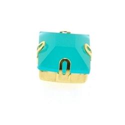 Rijgkastje met kunststof facetsteen, vierkant, twee rijggaatjes, turquoise, 10 mm (3 st.)