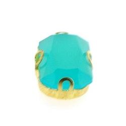 Rijgkastje met kunststof facetsteen, rechthoek, twee rijggaatjes, turquoise, 15 x 10 mm (3 st.)