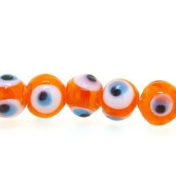 Glaskraal, rond, Turks oog, oranje, 8 mm (streng)