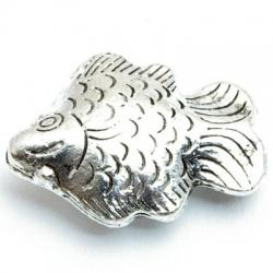 Metaal, bedel, vis, zilver, 25 mm (1 st.)