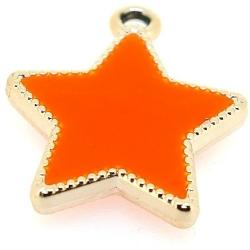 Resin, hanger, ster, oranje, 30 mm (3 st.)