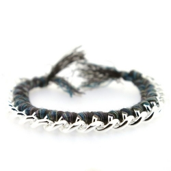 Trendy geknoopte Ibiza Style armband, zilver (1 st.)