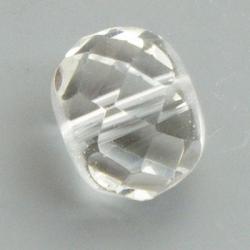 Glaskraal, rond (afgeplat) met facetten, transp., 14x17mm (5 st)