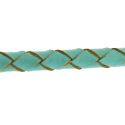 Natuurleer, rond, gevlochten, turquoise, 3 mm (1 meter)