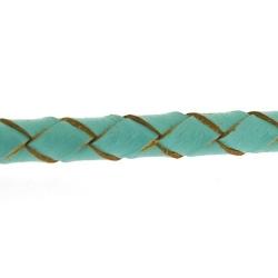 Natuurleer, rond, gevlochten, turquoise, 5 mm (1 meter)