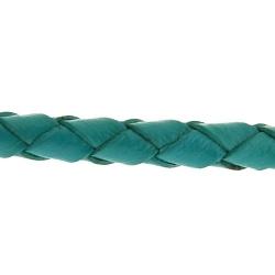 Natuurleer, rond, gevlochten, petrol, 3 mm (1 meter)
